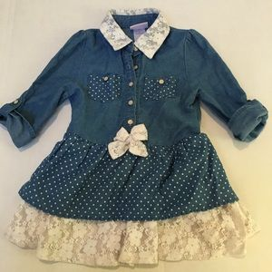 Little Lass Denim & Lace Dress Sz 6